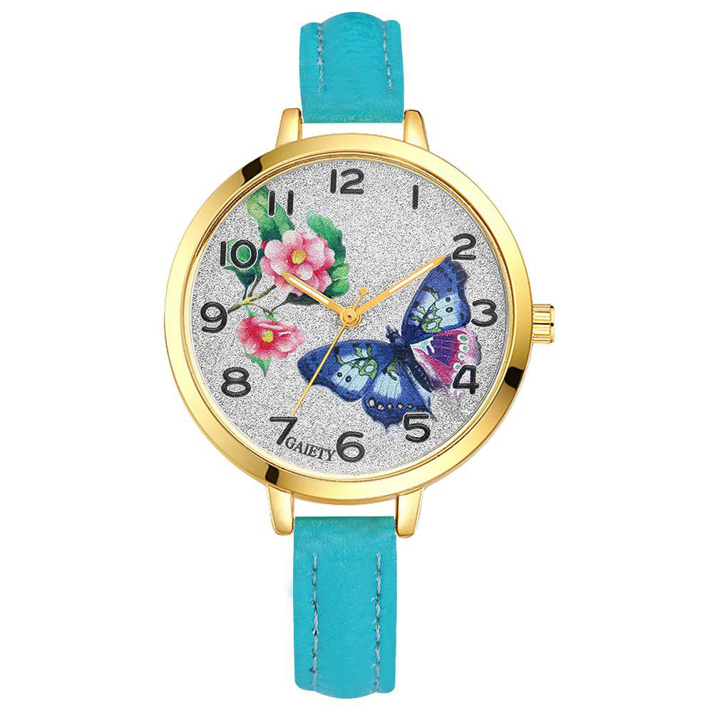 Shops GAIETY G351 Women Flowers Dial Leather Band Quartz Watches