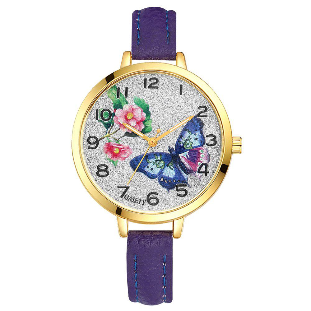 Chic GAIETY G351 Women Flowers Dial Leather Band Quartz Watches