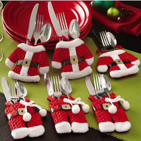 Outfits 6Pcs Christmas Decorations Santa Silverware Holders Pockets lovely cute Dinner Decor