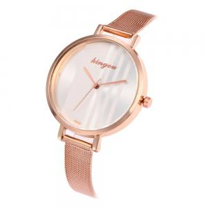 New Trend of Fashion Rose Gold Small Dial Steel Quartz Watch -