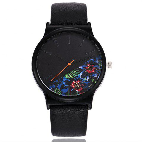 Outfit REEBONZ Luxury Top BrandVintage Leather Floral Pattern Casual Quartz Watch for Women