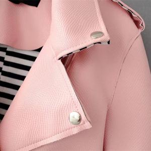 Women Basic PU Leather Short Motorcycle Jacket Zipper Pockets Sexy Punk Casual Outwear Tops -