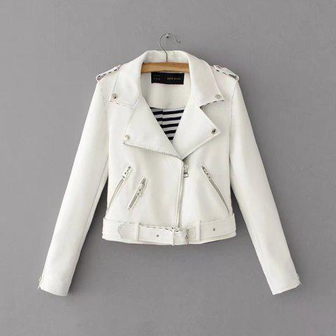Best Women Basic PU Leather Short Motorcycle Jacket Zipper Pockets Sexy Punk Casual Outwear Tops
