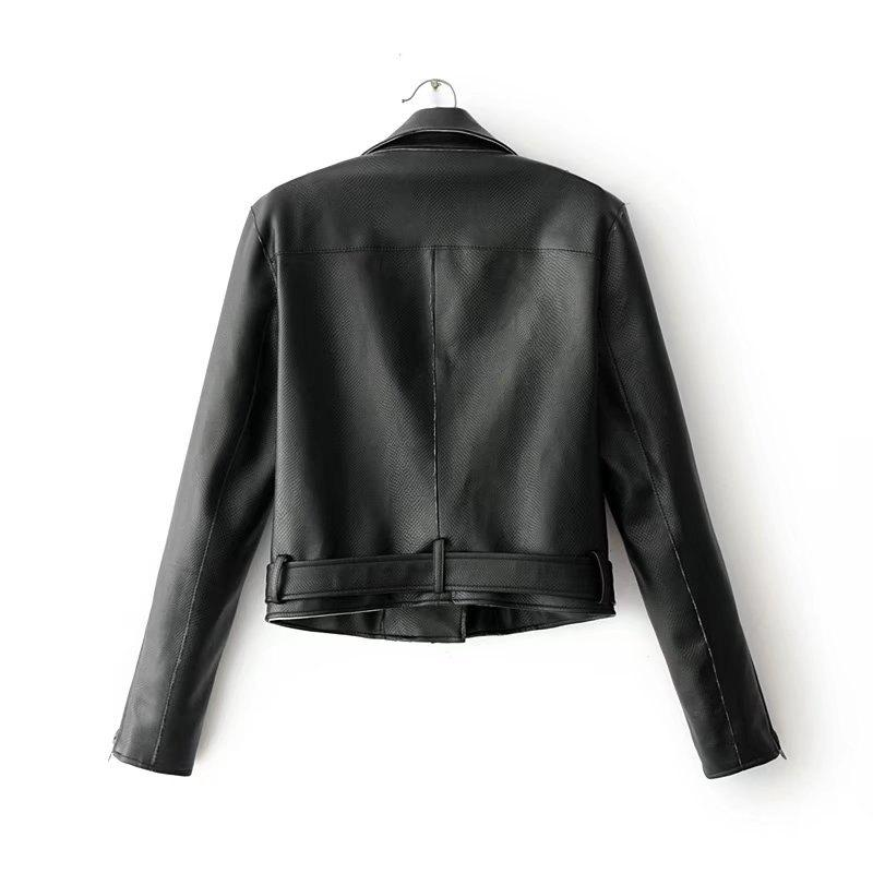 Discount Women Basic PU Leather Short Motorcycle Jacket Zipper Pockets Sexy Punk Casual Outwear Tops