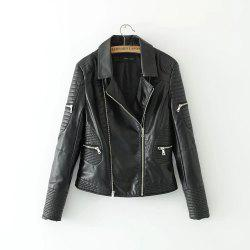 New Fashion Street Short Washed PU Leather Jacket Women Zipper Ladies Basic Jackets -