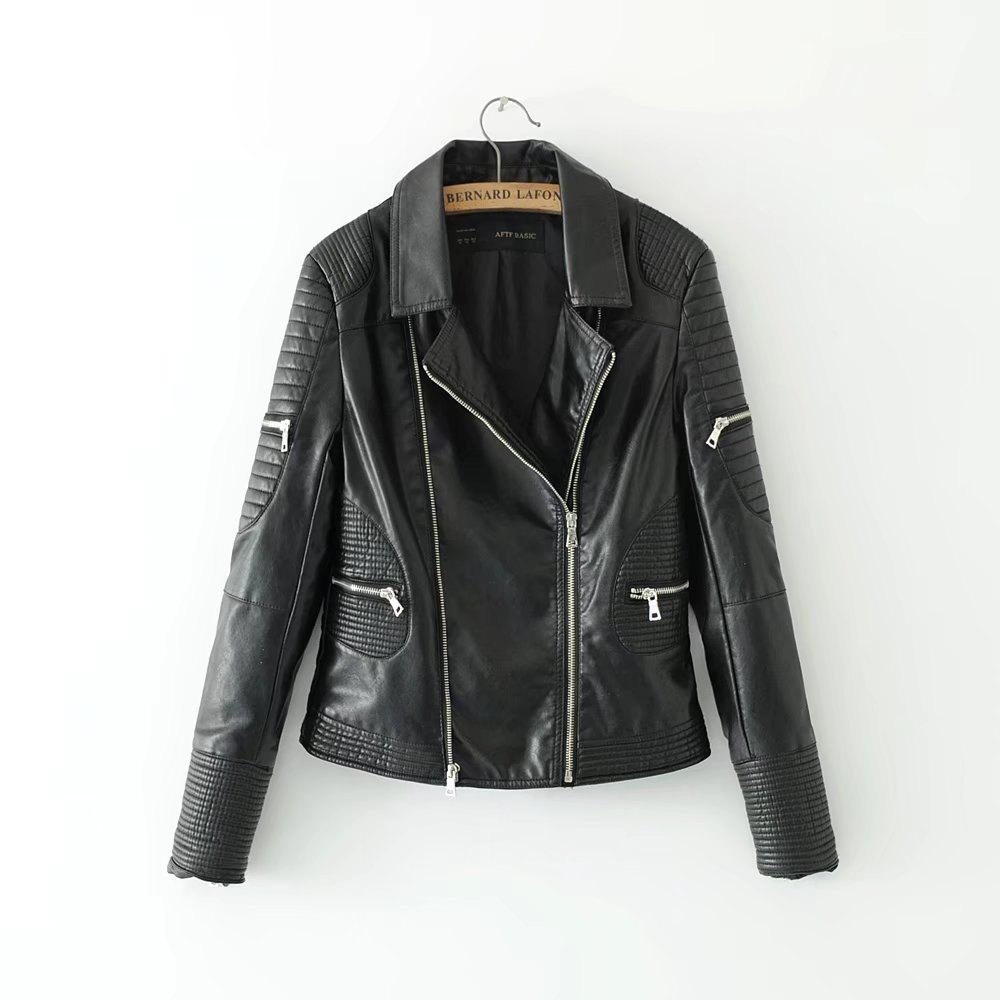 Shop New Fashion Street Short Washed PU Leather Jacket Women Zipper Ladies Basic Jackets