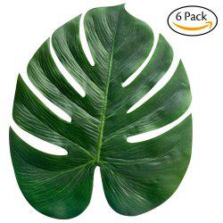 6PCS Artificial Tropical Leaf Plant Leaves Palm Fronds for Hawaiian Party Beach Theme Home Decorations (Size:13.8 Inch) -