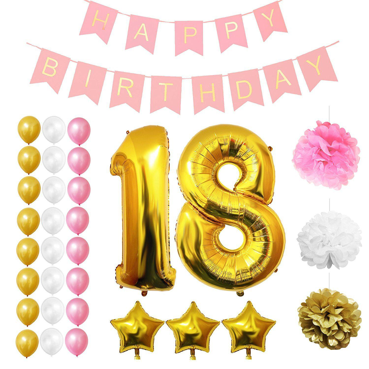 Trendy 18th Birthday Party Balloons Supplies Decorations Large 18 Years Foil Balloon