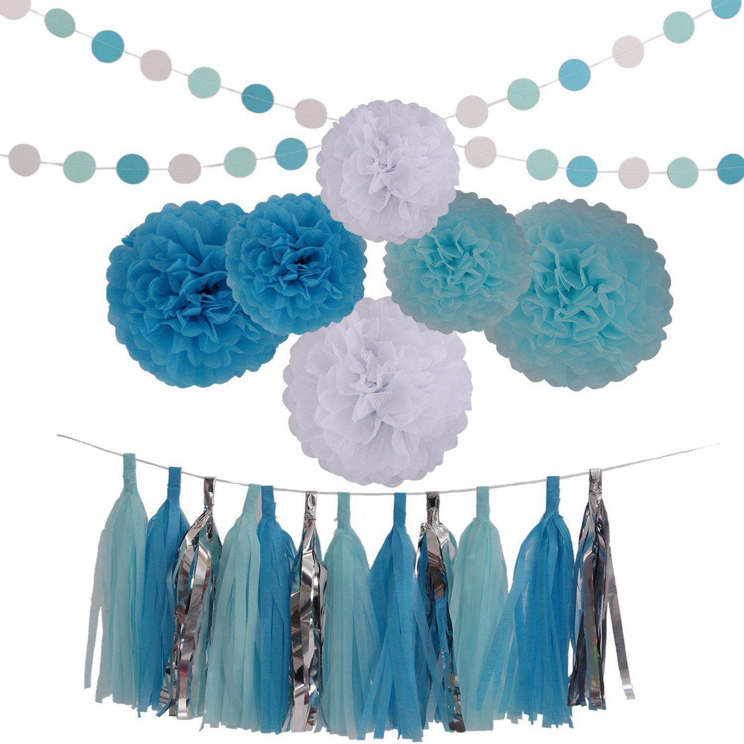 2019 Baby Blue White Lake Blue Tissue Paper Pom Poms