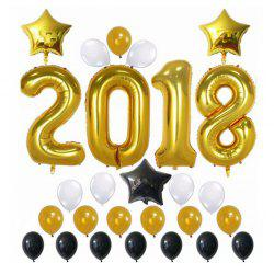 Christmas Decorations Happy New Year Banner Decorations Gold 2018 Balloons Gold Stars Decorations -