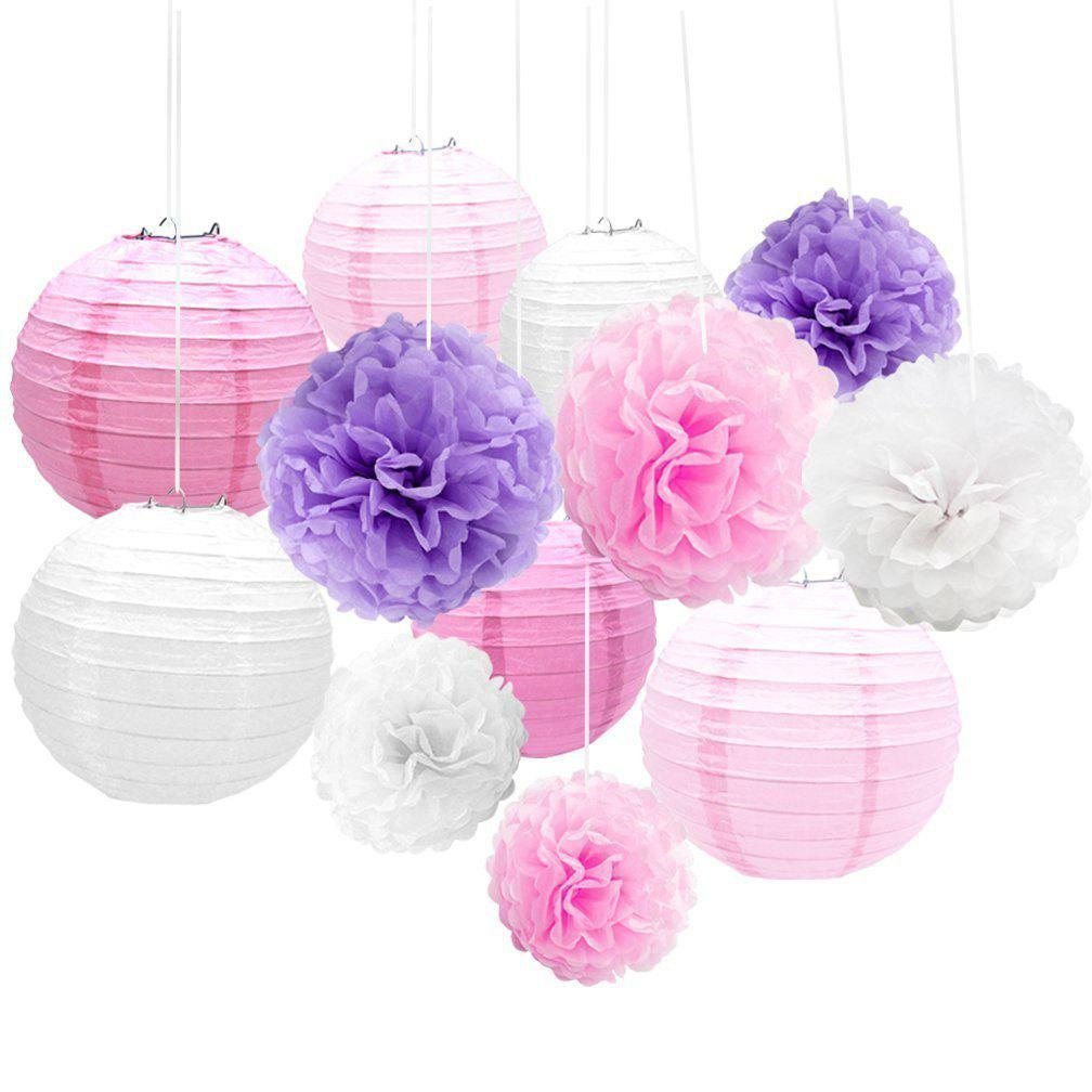New Eastern Hope Tissue Paper Pom Pom Flower Purple and Pink White Paper Lantern for Christmas Birthday Wedding Party Decoration,12 Pieces