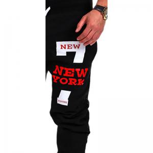 Men'S Casual Pants Fashion NEW YORK Letter Printing Design -