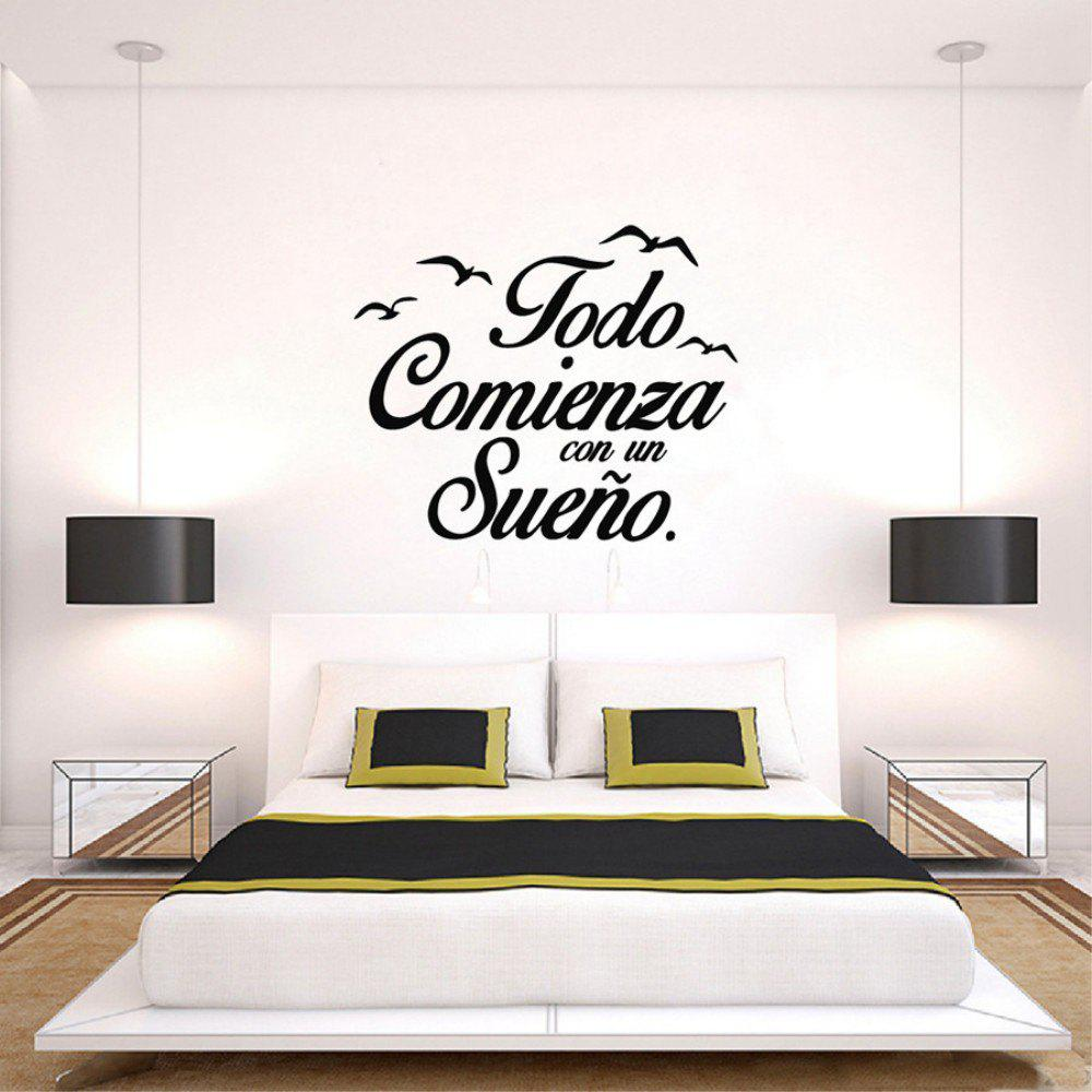 Best Spanish Vinyl Quote Everything Starts Dream Wall Stickers Todo Comienza Sueno Wall Decals Quote Birds  sc 1 st  RoseGal & Black 58 X 70cm Spanish Vinyl Quote Everything Starts Dream Wall ...