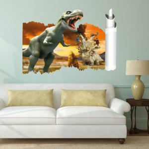 3D Scroll Painting Dinosaur Wall Sticker Antique Animals Decals For Kids Room