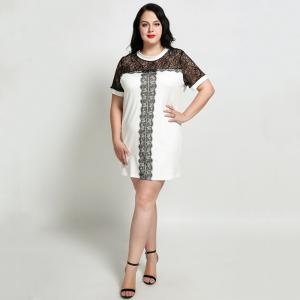 Cute Ann Women's Sexy Lace Patchwork Plus Size Party Dress -