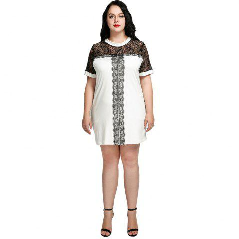 Unique Cute Ann Women's Sexy Lace Patchwork Plus Size Party Dress