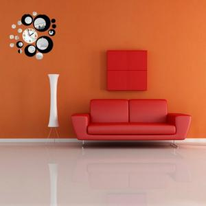 Acrylic Wall Clock with Diy Circles Mirror Wall Stickers for Home Decoration -