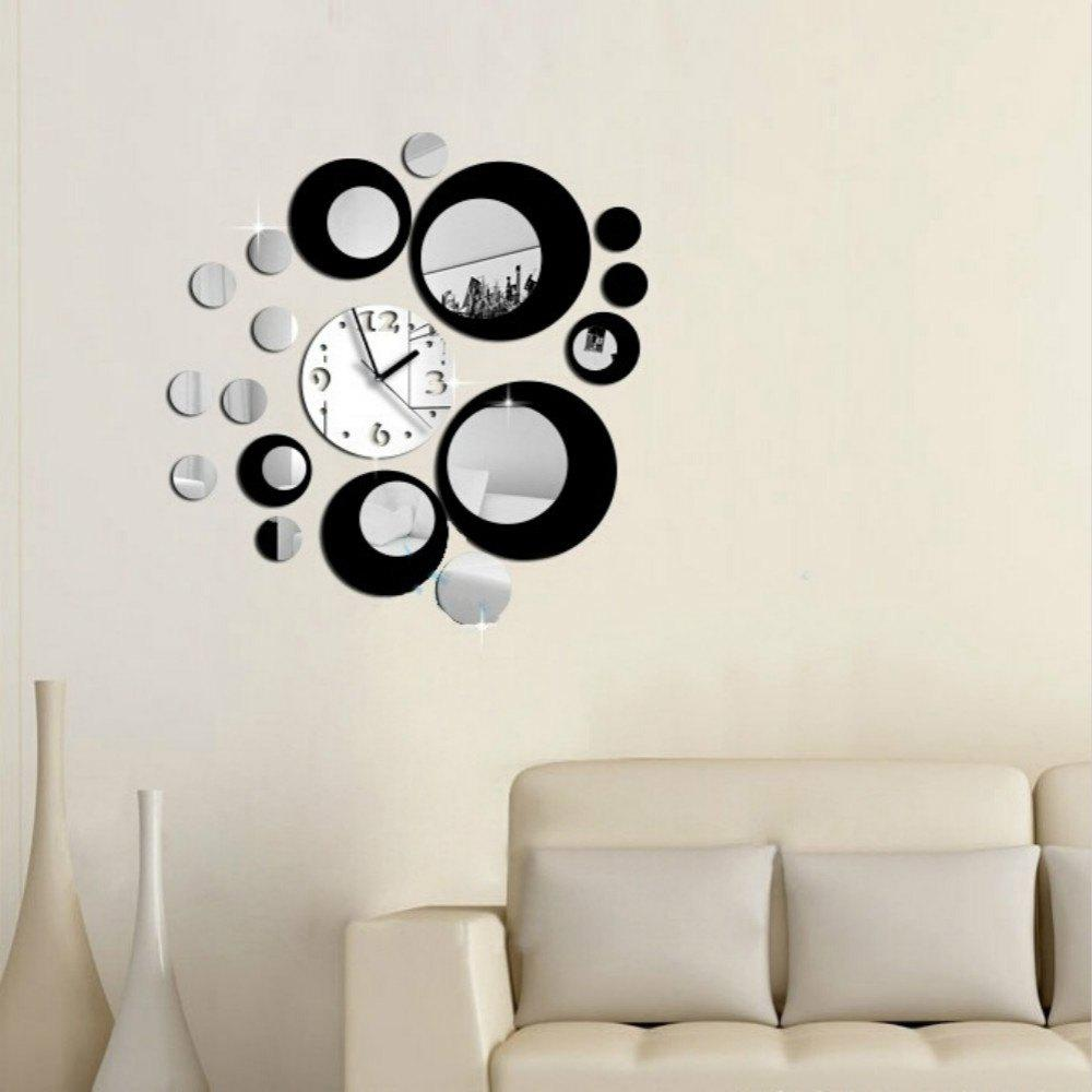 Trendy Acrylic Wall Clock with Diy Circles Mirror Wall Stickers for Home Decoration