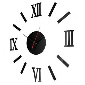 3D DIY Roman Numbers Mirror Wall Clock Home Decoration -