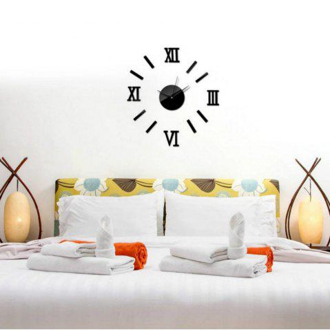 Shops 3D DIY Roman Numbers Mirror Wall Clock Home Decoration