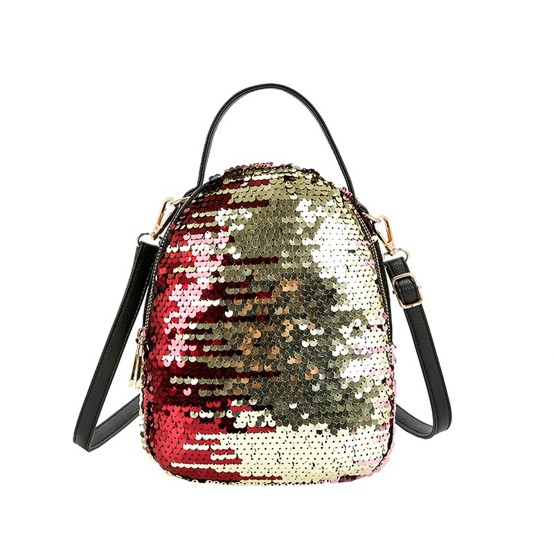 Women s Fish Scale Sequined Backpack Large capacity multi zip color multi purpose bag 249587104