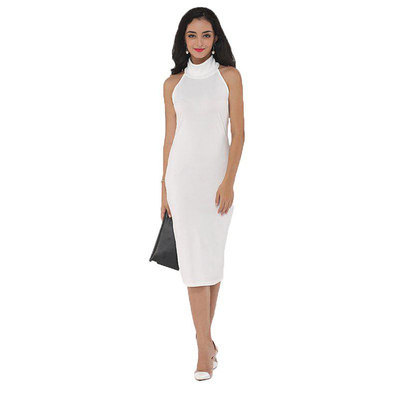 Sale 2017 Womens Elegant Solid White Turtleneck Office Business Sexy Career  Stretch Bodycon Plus Size Dress 722127010f12