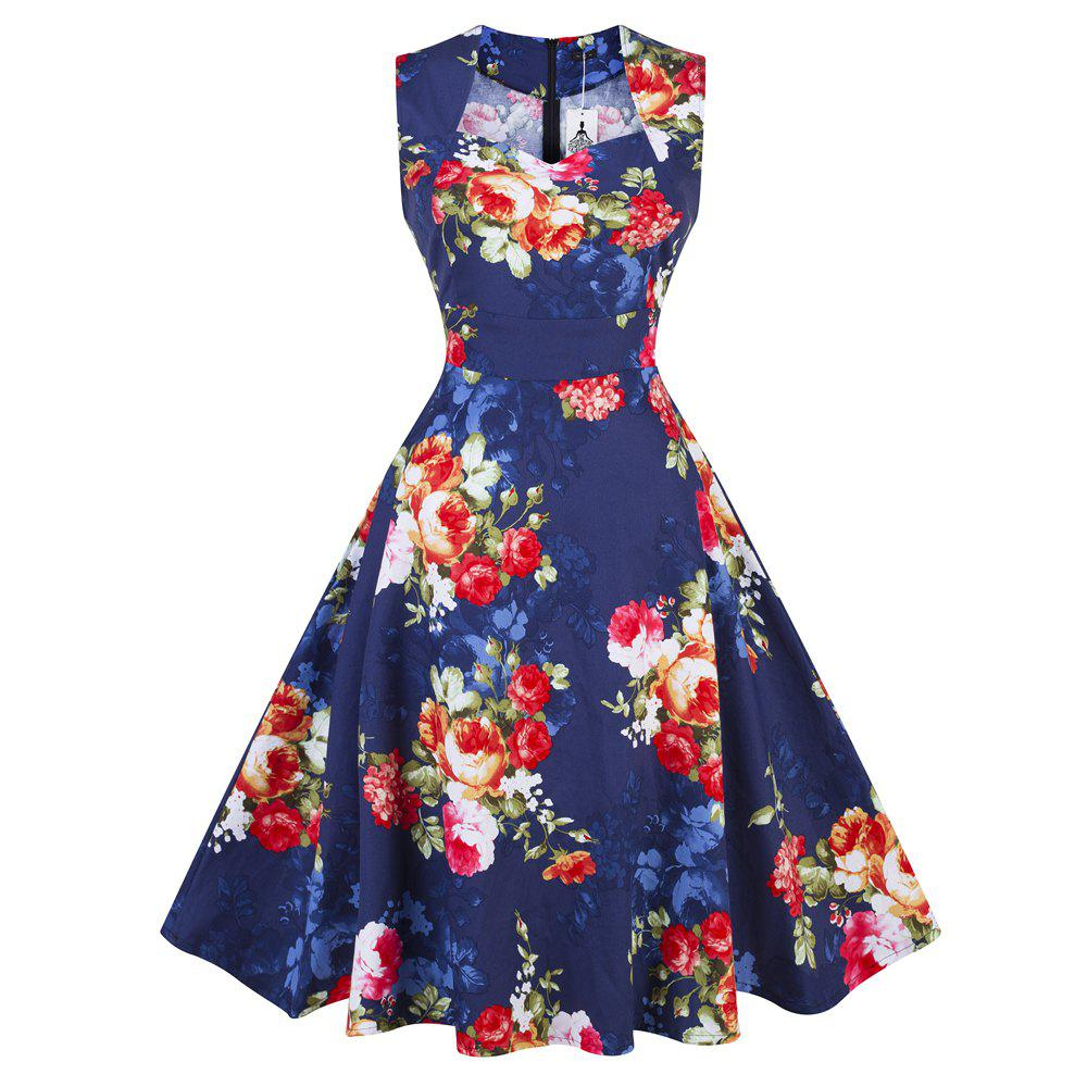 2eb73f35577 Outfit 2018 Summer Dress Women Cotton Floral Print 50S 60S Vintage Dress  With Belt Sleeveless Elegant