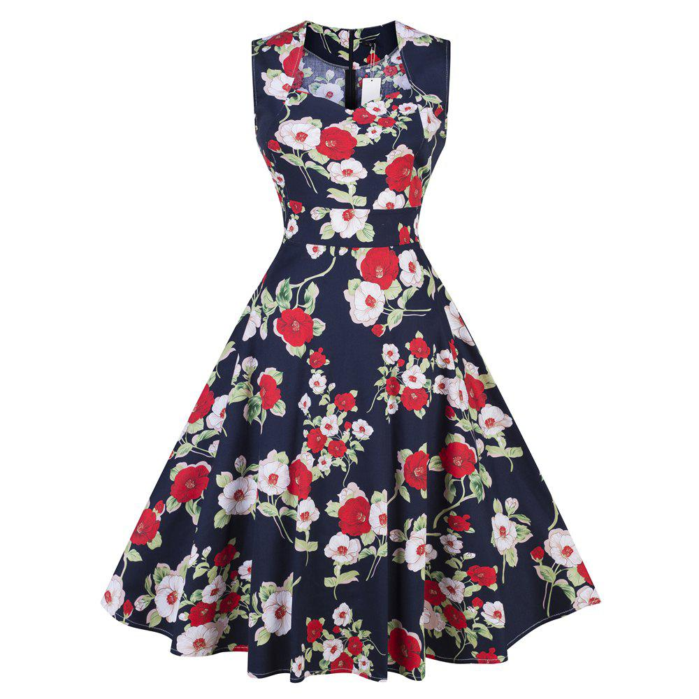 33bf590179813 Store 2018 Summer Dress Women Cotton Floral Print 50S 60S Dress With Belt  Sleeveless Elegant Party