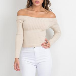 Off The Shoulder Knit Crop Top -