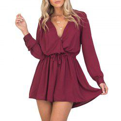 V Neck Sexy Lace Up  Romper -