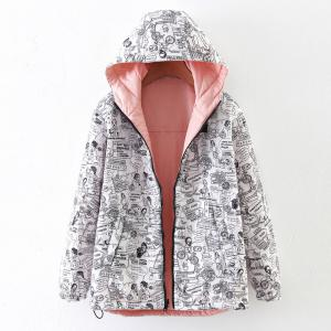 Women's Quilted Coat Hooded Zipper All Match Comfy Hooded Outerwear -