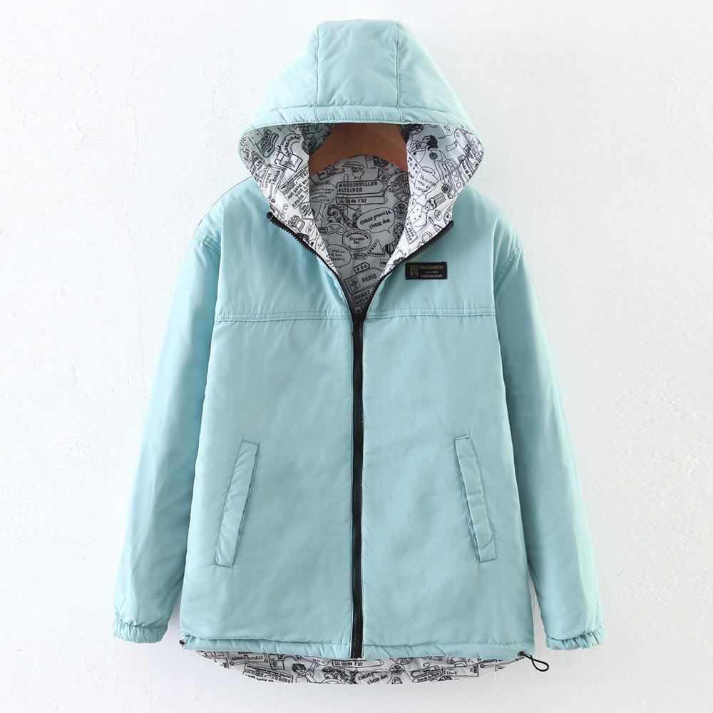 Chic Women's Quilted Coat Hooded Zipper All Match Comfy Hooded Outerwear