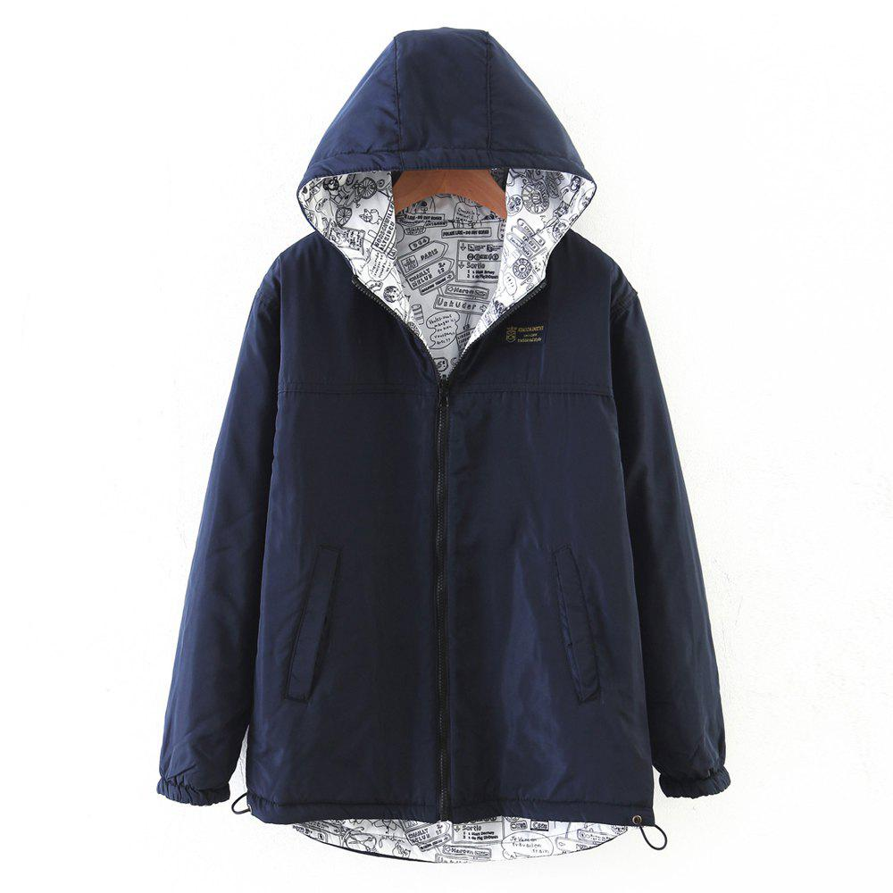 Cheap Women's Quilted Coat Hooded Zipper All Match Comfy Hooded Outerwear