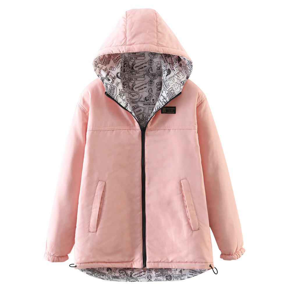 New Women's Quilted Coat Hooded Zipper All Match Comfy Hooded Outerwear