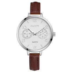 GAIETY G335 Women Watch Silver Tone Bezel Simple Leather Quartz Watches -