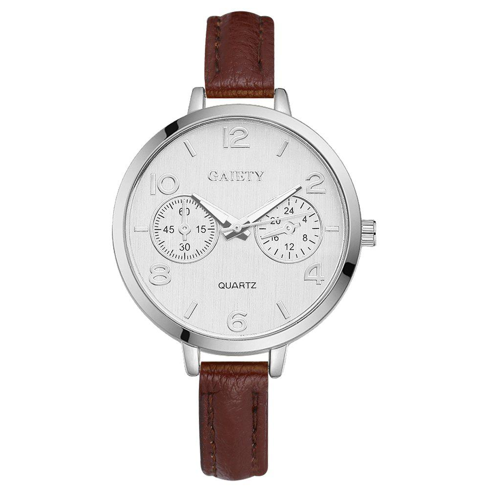 Buy GAIETY G335 Women Watch Silver Tone Bezel Simple Leather Quartz Watches