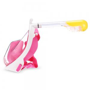 M2068G+180 Degree Panoramic View+Snorkel Mask+Pink,L/XL -