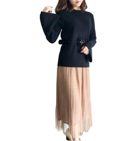 Fashion Autumn and Winter New Vintage  Ladies  Lace Gauze Skirt Suit