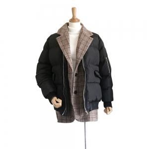 Loose-fitting Tweed Plaid Splicing Bread Served Down Cotton-padded Coat -