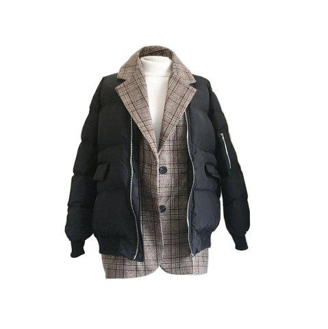 Unique Loose-fitting Tweed Plaid Splicing Bread Served Down Cotton-padded Coat