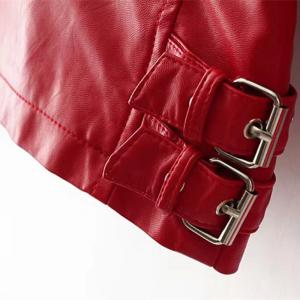 Women Baisc PU Leather Motorcycle Jacket Candy Colors Casual Solid Coat Zipper Pockets Outerwear Chic Tops -