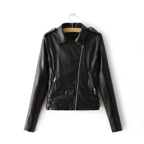Shops Women Baisc PU Leather Motorcycle Jacket Candy Colors Casual Solid Coat Zipper Pockets Outerwear Chic Tops