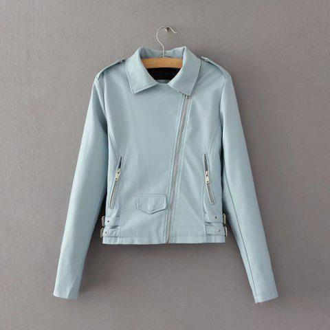 Outfits Women Baisc PU Leather Motorcycle Jacket Candy Colors Casual Solid Coat Zipper Pockets Outerwear Chic Tops
