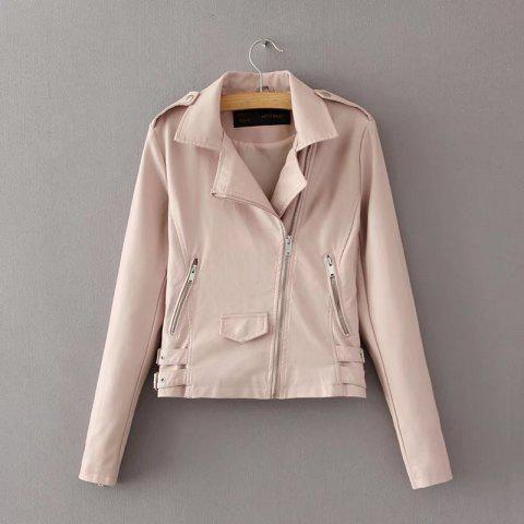 Hot Women Baisc PU Leather Motorcycle Jacket Candy Colors Casual Solid Coat Zipper Pockets Outerwear Chic Tops