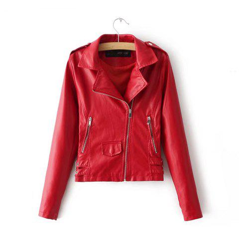 Affordable Women Baisc PU Leather Motorcycle Jacket Candy Colors Casual Solid Coat Zipper Pockets Outerwear Chic Tops