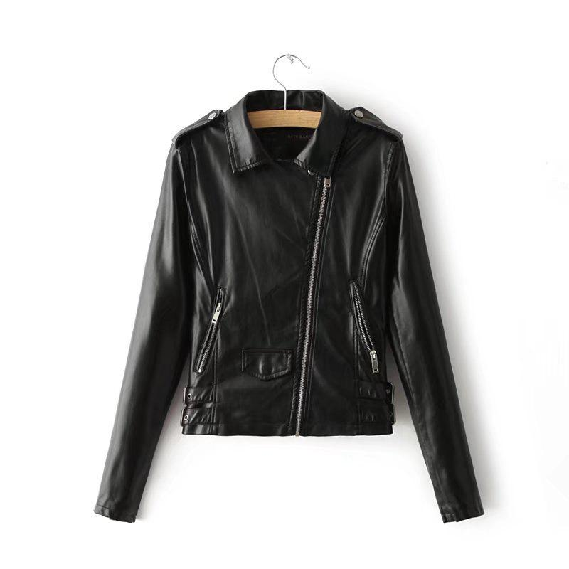 Buy Women Baisc PU Leather Motorcycle Jacket Candy Colors Casual Solid Coat Zipper Pockets Outerwear  Tops