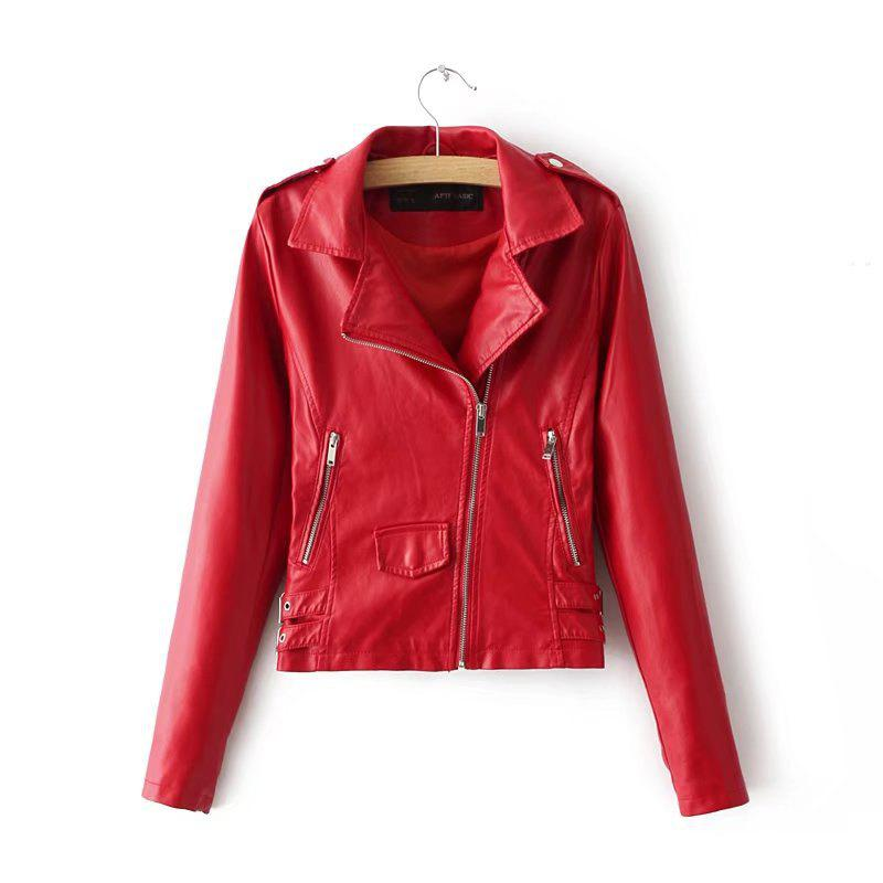 Store Women Baisc PU Leather Motorcycle Jacket Candy Colors Casual Solid Coat Zipper Pockets Outerwear  Tops