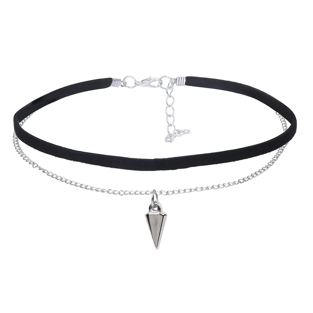 Image of Conical Pendant Choker Double Velvet Choker Silver Chain Necklace - BLACK