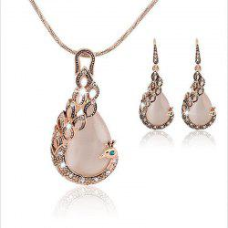 Peacock Necklace Set Pendant Earring Jewelry -