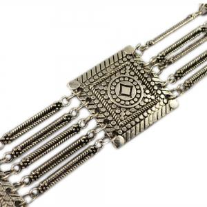 Tribal Bohemian Body Jewelry Silver Plated 5 Layers Pattern Vintage Flower Belly Dance Belt Chain Waist Jewelry -